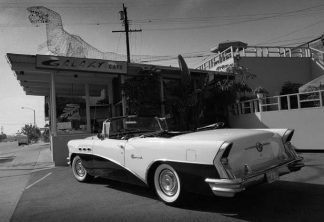 1956 buick galaxy cafe bw